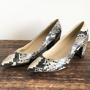 MARC FISHER Snakeskin Pointed Toe Pumps 6.5
